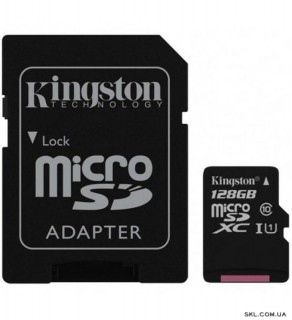 Карта памяти 128 Gb MicroSD Kingston Class 10 + Адаптер