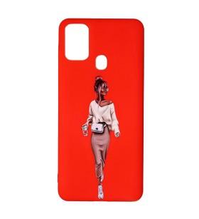 Силиконовый чехол Samsung Galaxy F41 – ART Lady Red