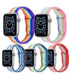 Ремешок силиконовый Apple Watch 40mm Rainbow (Размер S/L)