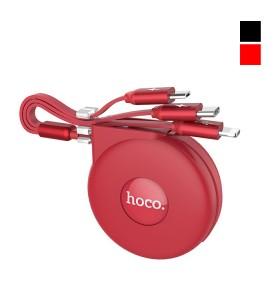 Кабель 3в1 (microUSB+ip5+type-c) Hoco U50 - Рулетка (1 м)